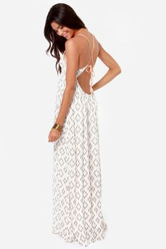 O'Neill Diane Ivory Print Backless Maxi Dress at Lulus.com!