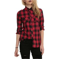 Black And Red Plaid Top | Hot Topic ($30) ❤ liked on Polyvore featuring tops, flannel, hot topic, red, shirts, long sleeve shirts, red button down shirt, flannel shirts, plaid button up shirts and red plaid shirt