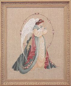 lavender and lace cross stitch | Lavender & Lace Cross Stitch Chart - Guardian Angel - Designed by ...