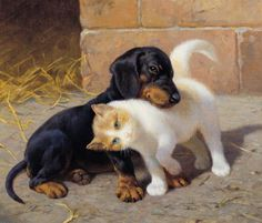 Best of Friends: Victorian watercolour painting by the artist Heinrich Sperling (1844-1924).
