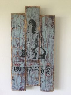Buddha Mantra Wall Art Pallet Wood Buddha Wall Stencil by Kikozo