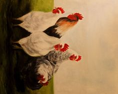 """""""Roosters""""- Fine Art by Elizabeth Barrett"""