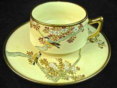 Vintage demitasse tea cup & saucer, Meiji period, birds & cherry blossoms on a pale yellow ground