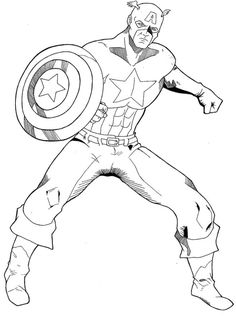 Captain America Printable Coloring Pages. Are you a Marvel's superheroes fan? There is good news, one of them is here. You can find Captain America coloring pic Nemo Coloring Pages, Avengers Coloring Pages, Spiderman Coloring, Superhero Coloring, Online Coloring Pages, Cartoon Coloring Pages, Coloring Pages To Print, Coloring Book Pages, Printable Coloring Pages