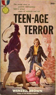 "1950's Pulp Fiction, Teen Juvenile Delinquents #VintageIllustration ""Teen-age Terror"""