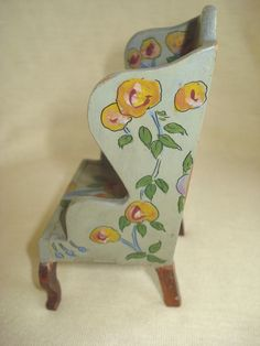 Vintage TYNIETOY Hand Painted FLORAL WING CHAIR Dollhouse Furniture Tynie Toy