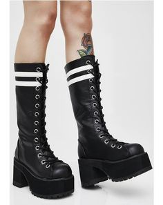 Demonia Fatal Blow Platform Boots cuz you take no prisoners. These black boots have thikk soles, lace-up fronts, back zipper closures, and white stripes at the top. Black Platform, Platform Boots, Lace Up Boots, Black Boots, Sock Shoes, Shoe Boots, Goth Boots, Glam Rock, Harajuku Fashion