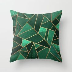Emerald and Copper by Elisabeth Fredriksson Throw Pillow Living Room Green, Bedroom Green, Green Rooms, Emerald Bedroom, Patch Quilt, Green Pillows, Copper Pillows, Green Bedding, Estilo Tropical