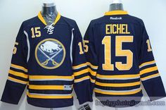 NHL San Jose Sharks  15 Jack Eichel Navy Yellow Jersey be9bc6c1d