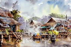 Spectacular Watercolor Paintings by Thanakorn Chaijinda ~ Cool Stuff Directory Watercolor Paintings Nature, Watercolor Landscape, Watercolors, Chiang Mai, Boat Painting, Thai Art, Pencil Art Drawings, Pictures To Draw, Painting Inspiration