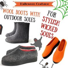 Halloween Inspired Wool Boots with Outdoor Soles for Stylish Wicked Souls. Scare Them With Your Costume. Charm Them With Your Valenki Boots!