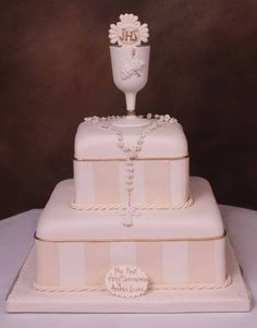 Two tier communion cake.