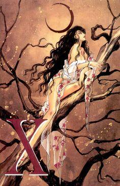 "Kanoe sitting on tree wearing sheer red white kimono from ""X"" series by manga artist group CLAMP. All Anime, Manga Anime, Anime Art, Manga Illustration, Illustrations, Manga Story, White Kimono, Manga Artist, Clamp"
