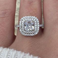 Double halo cushion engagement ring