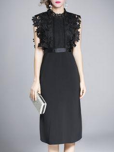 Shop Midi Dresses - Elegant Sleeveless Polyester Sheath Crew Neck Midi Dress online. Discover unique designers fashion at StyleWe.com.