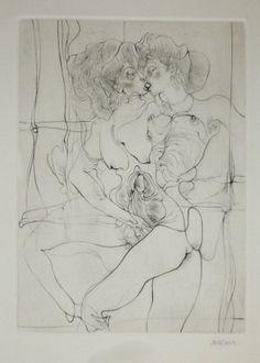 """Hans Bellmer – A Sade 7 , 1961 [ Gravure originale sur papier Arches provenant de la suite """"A Sade"""" éditée par les Ateliers Georges Visat en 1961.]"""