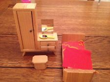 Vintage Dolls House Dol Toi Bed And Dressing Table And Stool Bedroom Great Cond