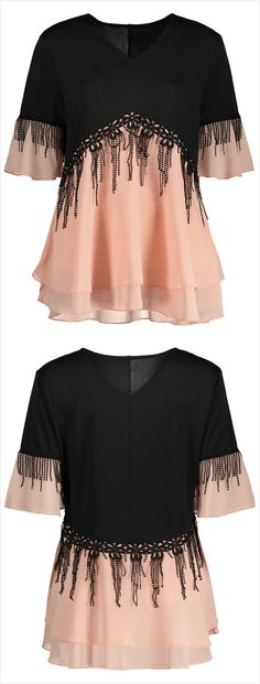Plus Size Fringe Color Block Top Trendy Dresses, Plus Size Dresses, Plus Size Outfits, Nice Dresses, Plus Size Blouses, Plus Size Tops, Plus Size Fashion For Summer, Stylish Plus Size Clothing, Clothing Patterns