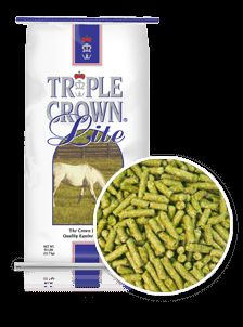 """Triple Crown Lite Pelleted Horse Feed & Superior Equine Supplement A pelleted concentrate balancing the nutritional requirements of forage-only diets. Triple Crown Lite is ideal for """"easy keepers"""" - horses that maintain their weight on very little grain or just on grass and hay."""