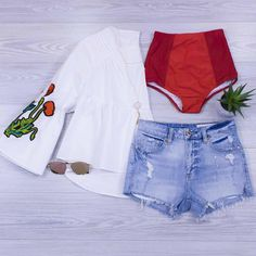 Pops of Red!  Who else loves wearing cut offs to the pool? Can't get enough time in the sun. www.shopelysian.com  New! Florette White Bell Sleeve Blouse $38. online  in-store.  Days Gone By Necklace $18. in-store only. @quayaustralia To Be Seen Sunnies $52. in-store only. Mix and Match High Waist Bottom in Red/Burgundy $34. online  in-store. Electric Feel Distressed Short $68. in-store only. #WearElysianDaily http://ift.tt/2t64mrN Pops of Red!  Who else loves wearing cut offs to the pool?…