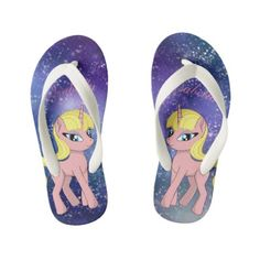 Beautiful cute pink fantasy unicorn | starry sky kid's flip flops #kidsflipflops #flipflops #thongs #kids #summer