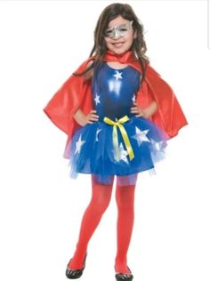 It's our Girls Tutu Super Girl Costume! With a blue tutu dress covered in white stars, red cape and silver mask, Tutu Super Girl Costume stands for the American way. Superhero Halloween, Halloween Costumes For Girls, Halloween Fancy Dress, Girl Costumes, Adult Costumes, Superhero Ideas, Halloween 2016, Girls Dress Up, Tutus For Girls