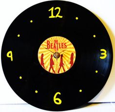 BEATLES Inspired Vinyl Record Clock by PandorasRecordArt on Etsy, $25.00