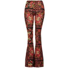 TopShop Scarf Print Flares found on Polyvore featuring pants, flared pants, patterned pants, red pants, print pants and print flare pants