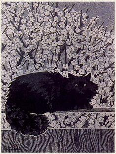 hanga gallery . . . torii gallery: Black Cat by Shiro Kasamatsu
