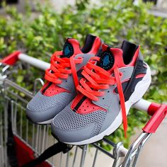 """""""Nike Air Huarache in cool grey/black-bright crimson // $100 USD  Available now in-store only at BAIT Diamond Bar. Phone orders accepted at 909.595.1712."""""""