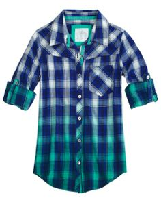 Dip Dye Plaid Shirt | Girls Long Sleeve Tops & Tees | Shop Justice