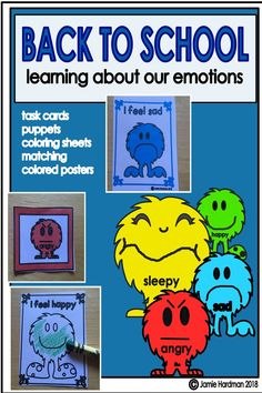 Feelings and Emotions is loaded with fun activities to teach your students about all about feelings. It includes posters/cards. These exciting activities will help you build a caring classroom community of learners who will support each other Emotions Activities, Language Activities, Reading Activities, Fun Activities, Early Childhood Activities, Back To School Activities, Kindergarten Themes, Kindergarten Activities, Classroom Community