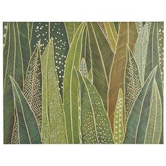 Pier 1's hand-painted Dotted Leaves Art features a modern close-up of a garden's leaves from a fresh perspective.