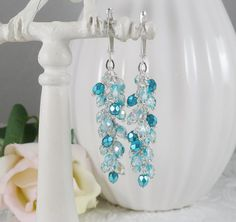 Dangle Earrings Wire Wrapped in Aqua Blue by IndulgedGirl on Etsy