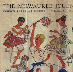 """Wednesday, September the Milwaukee Journal ran an article in the Women's Pages and Society section entitled """"A Calendar of Aprons. Vintage Apron Pattern, Retro Apron, Aprons Vintage, Vintage Sewing Patterns, Card Patterns, Apron Patterns, Sewing Crafts, Sewing Projects, Sewing Ideas"""