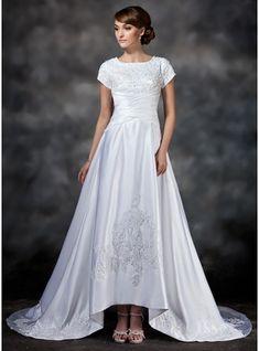 A-Line/Princess Square Neckline Asymmetrical Satin Wedding Dress With Ruffle Lace Beading