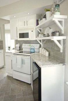 Super Kitchen Grey Tiles Floor Open Shelves Ideas