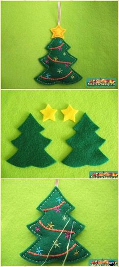 DIY Felt Christmas Tree Ornament Instructions - DIY Felt Christmas Ornament Craft Projects [Picture Instructions]