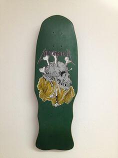 Green skull and bones mini metallica zorlac skateboard deck Real Skateboards, Old School Skateboards, Vintage Skateboards, Skateboard Deck Art, Skateboard Design, Skate Extreme, Craig Johnson, Skate Art, Skate Decks