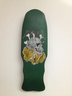 Green skull and bones mini metallica zorlac skateboard deck