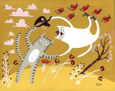 Dancing Cats With Cardinal Birds Painting - 8x10 Art Illustration in Gold, Yellow, Red, Pink, Tiger Tabby and White Cat