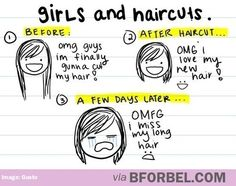 Funny Girls and Haircuts. haha lol meme and fun. enjoy the best Funny Girls and Haircuts Cut My Hair, New Hair, Women Logic, Before And After Haircut, Haha, Funny Quotes, Funny Memes, It's Funny, Funny Shit