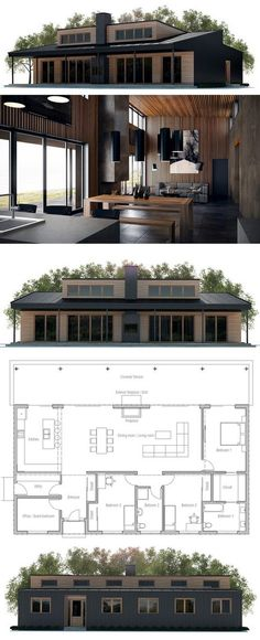 1787 Sq ft passive solar design with large low windows to catch winter sun and eaves to block hot summer sun. version 2 with carport. Modern House Plans, Small House Plans, House Floor Plans, Building A Container Home, Container House Plans, Container Homes, Future House, Casas Containers, Solar House