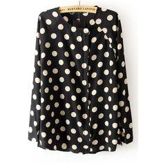 Black Long Sleeve Polka Dot Chiffon Blouse ($29) ❤ liked on Polyvore