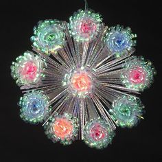 8 MultiColor Lighted Iridescent Foil Flower Christmas Tree Topper ** For more information, visit image link.