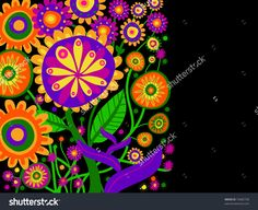 Postcard With Many Fantasy Flowers Of Colors, Black Background ...