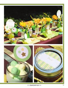 Lime green and yellow baby shower picnic