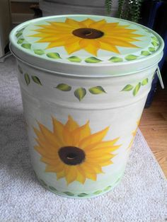5 Gallon Hand Painted Galvanized Trash Can by krystasinthepointe, $49.00
