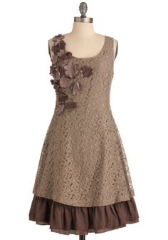 Ryu Mocha Brown Flower Dress - buy in sizes S and L - $80