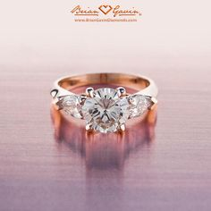 18K Rose Gold Pear Sidestones with Shoulders, Engagement Ring | Three Stone Diamond Ring.